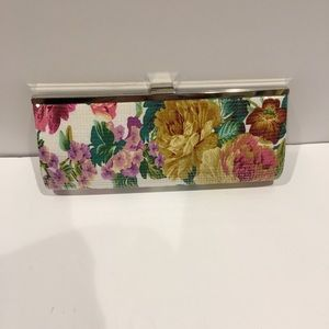 "Pink Floral sequence clutch. 11""x 4.5""x2"". New"